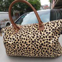 Wholesale handbag double zipper resale online - Women Leopard Duffel Bag Travel Tote handbag Double Handles Sarah large capacity Outdoor Lady party Weekenders Bag LJJA2409