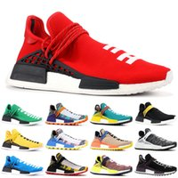 Wholesale human race red shoes for sale - With Box Human Race Mens Running Shoes Pharrell Williams Oreo Nobel ink Yellow Red Sport Designer Sneakers Sport Shoes