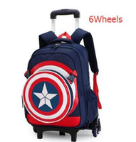 Wholesale rolling backpacks resale online - Children school wheeled backpack Mochilas kids School trolley bag for boys bag with wheels Rolling backpack Bags