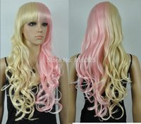 peruca longa loira loira encaracolado venda por atacado-WIG LIVRE PPCos Harajuku light blonde / rosa Mix Longo Encaracolado Cosplay WIG