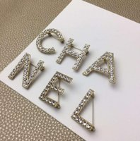 Wholesale cz brooches pins for sale - Group buy New design Set Women Fashion Letters Pins Brooches Gold Silver Plated High Quality CZ Letters Brooches Pins For Party Wedding