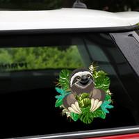 neue niedliche autoabziehbilder großhandel-Car Styling New Abnehmbare wiederverwendbare Aufkleber Cute Sloth Auto Aufkleber und Abziehbilder Body Window Tür Aufkleber für Auto-Produkte