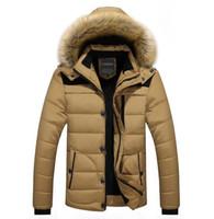 Wholesale yellow duck clothing resale online - WINTER Men Hooded Designer Down Jackets Fur Design Fleece Warm Thick Coats Clothes
