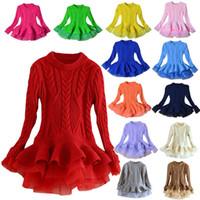 vestidos de niña mini niño al por mayor-Venta al por menor 13 colores ropa de diseñador para niños niñas suéter de organza de punto princesa vestido Otoño Invierno lujo Navidad fiesta boutique vestidos