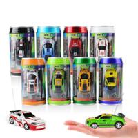 microcoche al por mayor-Mini-Racer Control remoto Car Coke can zip-top puede Mini RC Radio Control remoto Micro Racing car toys 1:64 8Styles GGA1459