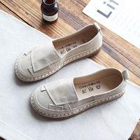 pés fêmeas coreanos venda por atacado-Sapatos de couro único feminino original mão-costurado boca rasa fundo plano conjunto de pé sapatos casuais de couro feminino versão coreana