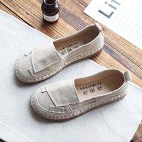 ingrosso piedi femminili coreani-Scarpa singola in pelle femminile originale cucita a mano a bocca piatta fondo piatto in piedi scarpe casual in pelle femminile versione coreana