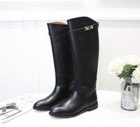 16 topuklu toptan satış-Marka Kadın inek deri Düşük Topuk Diz Çizmeler moda Baskı Batı Motosiklet Şövalye Çizmeler Kış Kar 16 inç yüksek yağmur Çizmeler, 35-42