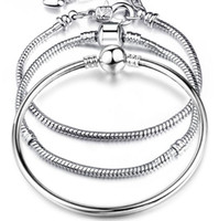 18k gold schlangenarmband großhandel-Charm Armbänder 925 Sterling Silber 3mm Schlangenkette Fit Pandora Charms Bead Armreif Modeschmuck DIY Armreif für Männer Frauen
