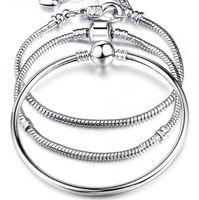 pulsera serpiente plata para hombre. al por mayor-Charm Bracelets 925 Sterling Silver 3mm Cadena de la Serpiente Fit Pandora Charms Bead Bangle Bracelet Joyería de Moda DIY Bangle Para Hombres Mujeres