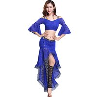 596621bc4a Lace Bellydance Costume Sexy Belly Dance Set For Women Flared Sleeve Gypsy  Practice Dancing Outfits Exotic Dancewear DC1284