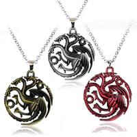 collar de 56cm al por mayor-Regalo de San Valentín Canción de hielo y fuego Juego de tronos Daenerys Targaryen Insignia del dragón Collar de cadena 56 cm