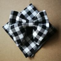 ingrosso cravatta plaid nera rossa-Ikepeibao Wedding Black Red Bowties in cotone con fiocchetti Set Unique Tuxedo Bow Tie Hankie Set Set cravatta