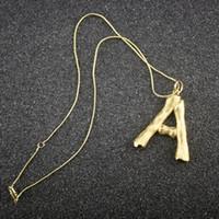 тонкие ожерелья оптовых-Женщина золото письмо кулон ожерелье дизайнер ювелирных изделий роскошный дизайн женщин 14 K золото ожерелье подвески чешские ювелирные изделия
