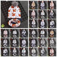 Wholesale grey scarf hat set for sale - Group buy 27 Styles Baby Animals Printed INS Beanies Panda Shark Bear Kids Faux Fur Pompom Ball Earmuffs Cap Scarves Set CCA10886 set