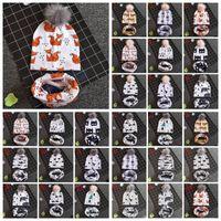 ingrosso beanie portano i bambini-27 Styles Baby Animals Printed INS Berretti Panda Shark Bear Bambini Faux Fur Pompom Ball Parauchie + Sciarpe Set CCA10886 50 set