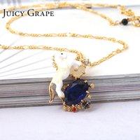 weißes pferd blau großhandel-Juicy Grape White Horse Einhorn Blau Cristal Naturstein-Halskette Vergoldet Handgefertigte Emaillehalsketten-Frauen-Schmucksachen