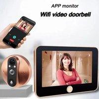 görme kontrolü toptan satış-4.3 inç kablosuz app kontrol monitör wifi akıllı peephole video kapı zili hd1080p kamera gece görüş ev kullanımı için pir motion algılama