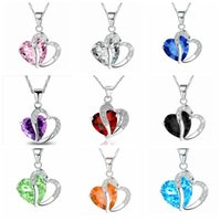 Wholesale Fashion Pendant women Heart Crystal Rhinestone choker ladies clavicle necklace colors Necklaces Jewelry for girls WWA143