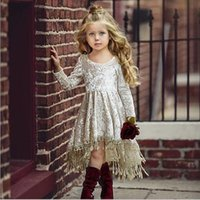 Wholesale pleuche dress for sale - Group buy kids clothes girls dress summer Round collar Short Sleeve pleuche with tassel design girl dress kids clothing elegant Summer dress