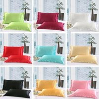 Wholesale supplies envelopes for sale - Group buy Solid Color Silk PillowCases Silk Satin Pillow Cover Double Face Envelope Design Pillow Case High Quality Charmeuse Bedding Supplies LXL767