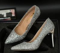 ouro vermelho talões de cristal de prata venda por atacado-Com caixa de moda designer de calçados femininos vermelho fundo de salto alto 9.5 cm de prata de ouro preto vermelho lantejoulas de cristal apontou toes bombas sapato vestido