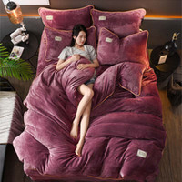 Wholesale pure linen bedding for sale - Group buy FB18002 New winter Fleece Bedding set AB side Flannel fleece bed linen fleece bedcloth pure color home textile duvet cover