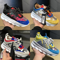 Wholesale chain boot shoes men for sale - Group buy Platform Luxury Shoes Chain Reaction Sneakers For Men Women Top Chainz Red Floral Lace Up Fashion Designer Shoes Casual Boots