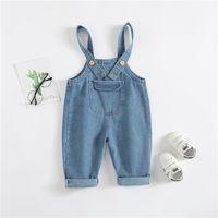 брюки для мальчиков мужские оптовых-Kids Jeans 1-3Y Boys Spring Cotton Jeans Children Long Trousers Girls Suspenders Boys Denim Bib Pants Child Outwear Clearnace