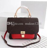 cuero de damas modernas al por mayor-Alta calidad moda señoras modernas bolsa de mensajero cuero puro oro metal joyería handbag44259