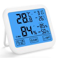 termómetros grandes al por mayor-2019 El más nuevo Termómetro digital de pantalla táctil grande Higrómetro Temperatura Humedad Memoria en pantalla Termómetros de retroiluminación