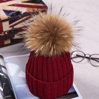 kürk top şapka toptan satış-Top Yapay Kürk Unisex Kayak Şapka Bayan Bere Kış Sıcak Örme Sevimli