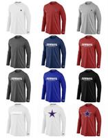 teamlogos t-shirts großhandel-Dallas Männer Cowboys Sideline Team Logo Leistung Sweatshirt Hoodies Authentic Long Sleeve T-Shirt