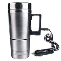 Wholesale stainless steel electric heating cup for sale - Group buy Water Heater Mug Car Electric Kettle Heated Stainless Steel Car Cigarette Lighter Heating Cup F Best