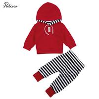 ensembles de vêtements pour bébés nouveau-nés achat en gros de-pudcoco Mode Nouveau-né Bébé garçon fille solide chaud T-shirts à capuche + Legging rayé pantalon bebe enfants tenues vêtements ensemble