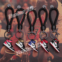 Wholesale 3d keychains for sale - Group buy Fashion Leather Keychains A J Model Keyrings Mini D Silicone Sneaker Shoes Keyring Charm Bag Decor Key Chain Lovers Gift Car Key Fob