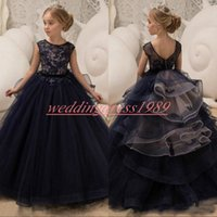 Wholesale navy dress 2t resale online - Beautiful Navy Girls Pageant Dress Lace Tiers Cheap First Communion Girl Birthday Dress Kids Formal Party Wear Flower Girls Dresses Gowns