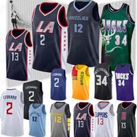 formaları 12 13 toptan satış-NCAA LA Forması Clippers Kawhi 2 Leonard Paul 13 George 12 Ja Morant Giannis Milwaukee Formaları Bucks Ray 34 Allen 34 Antetokounmpo Formaları