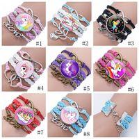 Wholesale kids gems resale online - Girl Unicorn Bracelet Multilayer Rainbow Horse Time Gems Bracelets Fashion Leather Charms Chain Cord Bangle Kids Jewelry Accessories