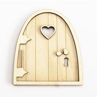 Wholesale kids 3d craft resale online - 6pcs d Wooden Fairy Garden Heart Door Craft Embellishments Decoration Diy Painting Decoration Kids Birthday Hobby Gift
