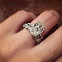 conjuntos de alianças de zircon venda por atacado-Choucong anel De Luxo conjunto De Noiva 925 Sterling Silver 3ct Sone 5A zircão Anéis de Noivado Wedding Band Para As Mulheres Dedo Jóias