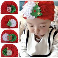 yılbaşı şapka oğlan toptan satış-Bebek Kız Noel Şapka Çiçek Noel Baba Kart Caddice Çocuk Örgü Şapka Boy Kış 4M-6T 07 Caps