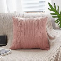 Wholesale coffee cushion covers for sale - Group buy Double Cable Knit Cushion Cover Vintage Cotton Coffee Ivory Grey Pink Coffee Solid Pillow Case cm cm Soft Decorative Cushion Cover