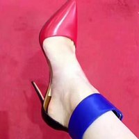 ingrosso scarpe con tacco scarpe blu-Spring New Red Tip Punta a punta Color Spell Blue Hollow Shallow Scarpe col tacco alto Sandali con tacco Scarpe da donna con tacco alto Scarpe da sera