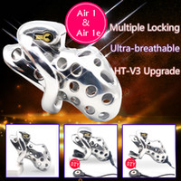 Wholesale male metal cage chastiy resale online - 2019 New Arrival Stainless Steel Venting Hole Male Electric Chastity Device Metal Penis Ring Sex Toys Air e