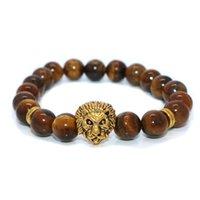 Wholesale lion charm men bead bracelet resale online - 10mm Tiger eyes Beads Bracelet Men Charm Natural Stone Braslet For Man Handmade Casual Jewelry Lion