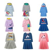 kızlar için şerit elbisesi toptan satış-Çocuklar Kız Şerit Elbise Bebek Kız Giysi Tasarımcısı Çocuklar Uzun Kollu Elbise Bebek Sequins Hood Ile Flip Pamuk Etek Triko 19
