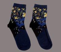 batı yağları toptan satış-Sıcak Satış ve Marka Yeni Moda Sonbahar ve Kış Batı Noel Çorap Yağlıboya Retro Sanatsal Çift Çorap