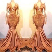 vestidos de laranja para o baile venda por atacado-Laranja Dresses Prom 2019 New sereia mangas compridas Applique Vintage Lantejoula Longo vestidos de noite personalizado Formal