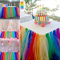 tul arcoiris al por mayor-Falda de mesa de color del arco iris vajilla de tela de boda tutu tul falda de mesa fiesta de la ducha del bebé decoración del hogar bordeando cumpleaños pa
